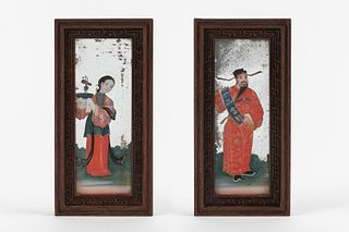 Two glass paintings depicting a dignitary and a concubine, 19th century Canton China