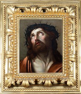 Seguace di Guido Reni - Head of Christ crown of thorns