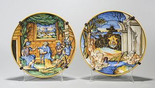 Two Antique Majolica-Style Plates