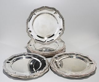 Set of George III-Style Silver Plate Dinner Plates