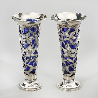 Pair Sterling Floral Openwork Glass Trumpet Vases