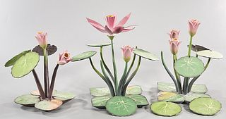 Group of Three Chinese Painted Wood Lotus Plant Sculptures