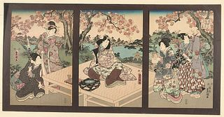 Japanese Woodblock Print Triptych