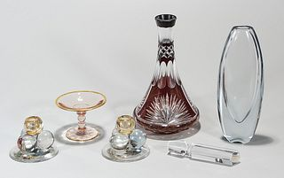 Group of Five Colored Glass Items