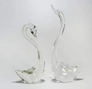 Two Cyrstal Swan Sculptures