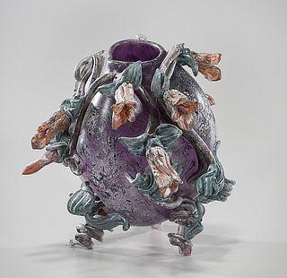 Polychrome Glazed Ceramic Fish Vase