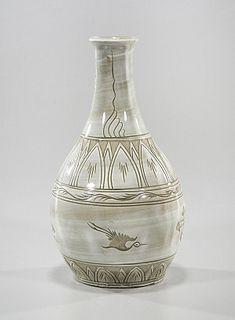 Korean Molded Glazed Ceramic Vase