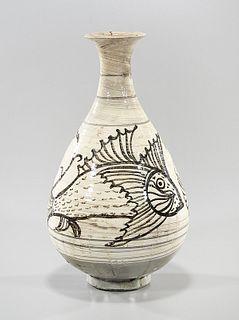 Korean Glazed Incised Ceramic Vase