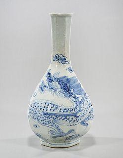Korean Blue and White Porcelain Octagonal Vase