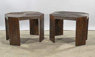 Pair of Bamboo Octagonal Tables