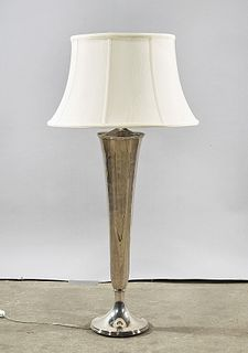 Gorham Silver Plate Trumpet Vase-Form Lamp