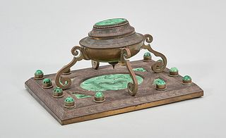 Decorative Metal and Malachite Inkwell