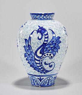 Blue and White Spanish Porcelain Vase