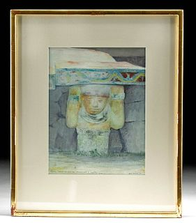 Charlot Watercolor for Francis & Sylvanus Morley, 1926