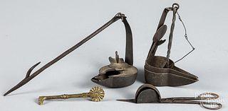 Group of metalware, 19th c.