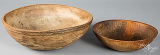Two turned wood bowls, 19th/20th c.