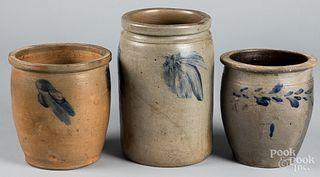 Three Mid-Atlantic stoneware crocks, 19th c.