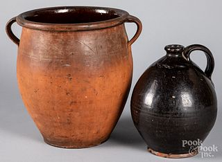 Two pieces of redware, 19th c.