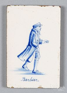 Barbier (Barber) occupational delft tile, 19th c.