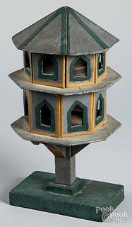 Diminutive painted pine martin birdhouse, 19th c.