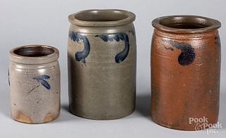 Three Pennsylvania stoneware jars, 19th c.