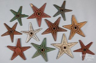 Ten painted iron architectural stars, 19th c.