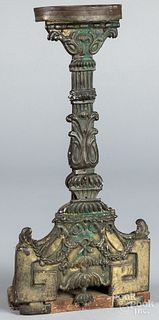 Unusual brass faced betty lamp stand, 19th c.