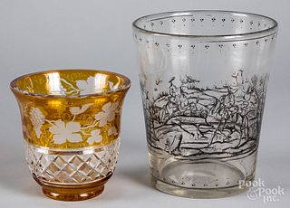 Bohemia glass vase, together with a colorless vas