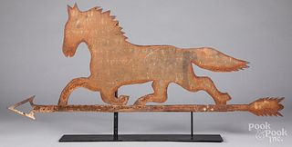 Sheet tin running horse weathervane, 19th c.