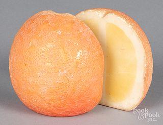Pair of stone fruit orange bookends