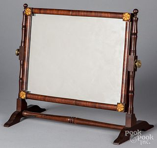 Sheraton mahogany shaving mirror, ca. 1820