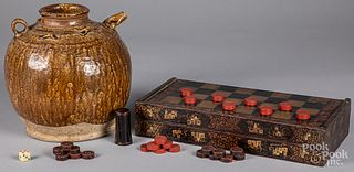 Chinese pottery crock, together with a gameboard