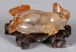 Chinese carved agate water coupe
