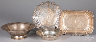 Four sterling silver serving pieces, 50.9 ozt.