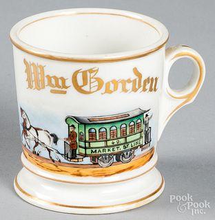 Porcelain trolley driver occupational shaving mug