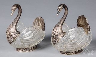 Pair of German silver mounted crystal swan dishes