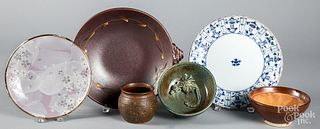 Six pieces of Japanese pottery and porcelain