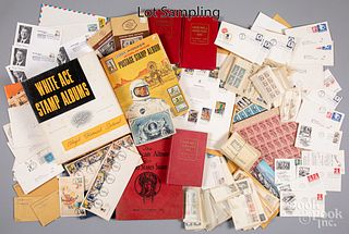 Collection of US stamps, stock certificates, etc.