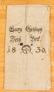 Grain bag, inscribed Georg Christoph 1830