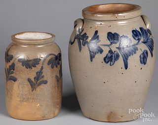 Two Pennsylvania stoneware crocks, 19th c.