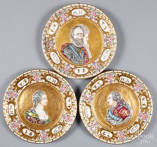 Three German porcelain portrait plaques