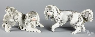 Pair of Dresden porcelain spaniels