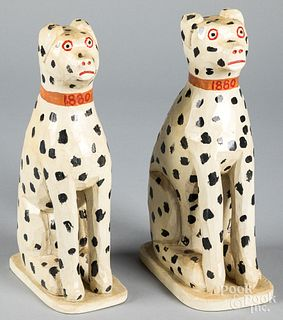 Pair of Jonathan Bastian carved dalmatians