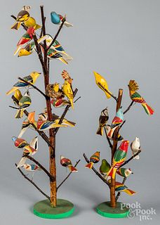Two contemporary carved and painted bird trees