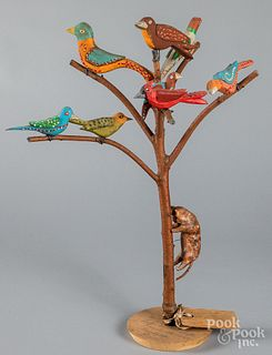 Luke Gottshall carved and painted bird tree