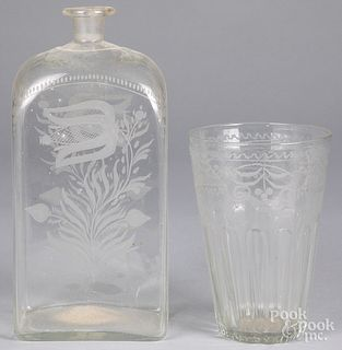 Engraved colorless glass decanter and flip, 19th