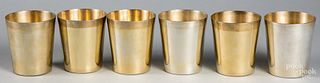 Six sterling silver cups