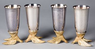 Four Anheuser Busch silver plated eagle cups
