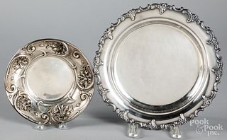 Sterling silver tray and shallow bowl