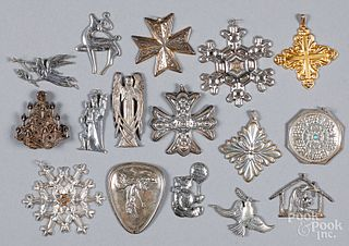 Sterling silver Christmas ornaments, 9.3 ozt.